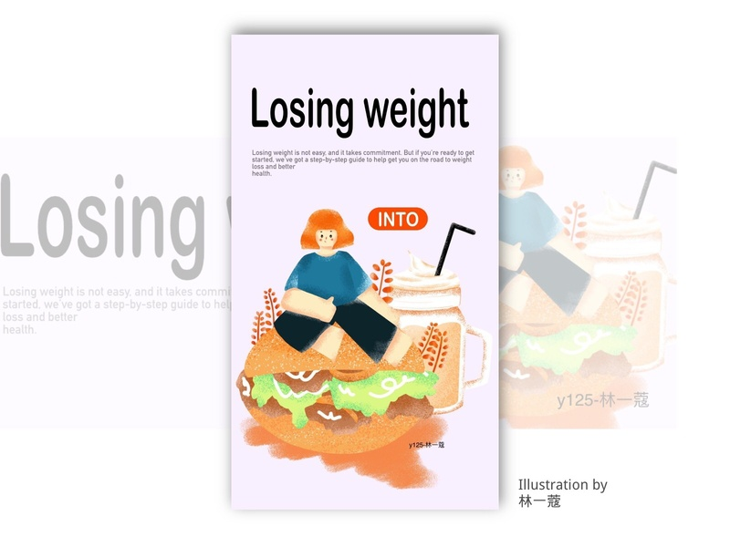 lose weight banner open screen illustration