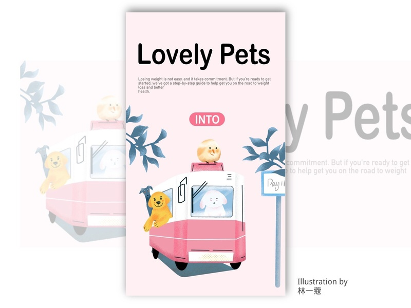 lovely pets pets banner home page illustration
