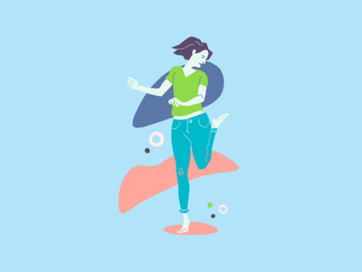 Sand Dunes Scamper green blue fitness outdoors woman femininity exercise lifestyle illustrator clip studio photoshop energetic fun playful people editorial drawing design illustration