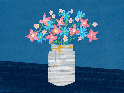 Flowers in a vase illustration surface pen illustraion digital illustration digital art digital blue vase flower illustration flowers texture brushwork photoshop adobe photoshop