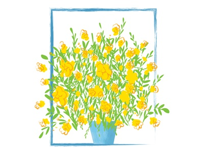 Calibrachoa Illustration blue green yellow brush illustrations calibrachoa vector art vector plant illustration illustrator adobe illustrator flowerillustration flower botanical illustration botanical digital illustration digital art digitalart adobe photoshop digital