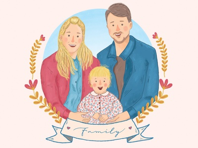 Family Portrait Illustration connection cheerful happy colorful mother father daughter portrait illustration portrait family portrait illustration family portrait family illustrator illustration digital illustration digital art digitalart adobe photoshop digital