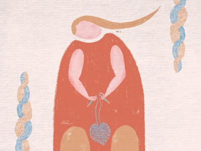Weaving a New Heart concept art concept heart threads weaving minimalistic minimal simple abstract art abstract woman illustration woman female character female illustration digital illustration digital art digitalart adobe photoshop digital