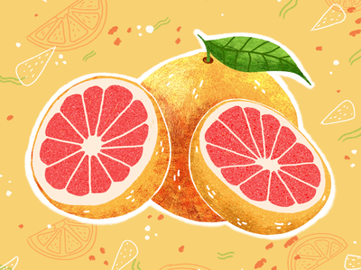 Pink Grapefruit Illustration pattern green yellowish illustrated food illustrated fruit citrus fruit pinkish grapefruit pink grapefruit food illustration fruit illustration illustration illustrator digital illustration digital art digitalart adobe photoshop digital