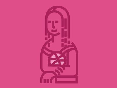 Monalisa-Dribbble dribbble debut graphicdesign designer firstshot minimal monalisa lineart