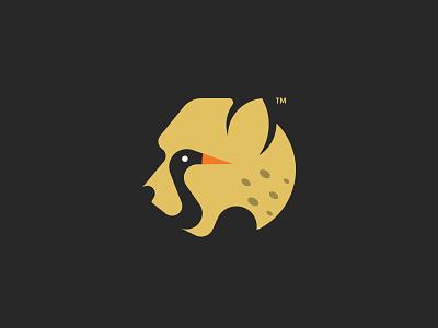 Cheetah + Crane cheetah branding hidden logo negativespace minimal birdlogo animallogo