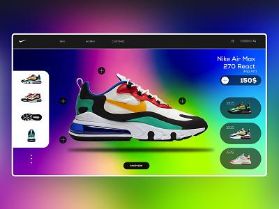 nike react 270 redesign concept landing page design webdesign ux ui color design branding