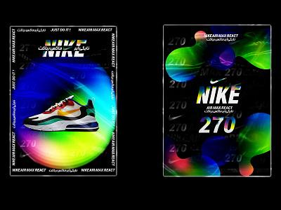 Nike Air Max React 270 nike typography branding design color poster art