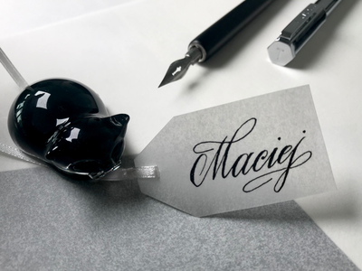 Transparent Name Tag handlettering name tag hand made calligraphy