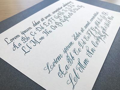 Italics vs Copperplate sample handlettering lorem ipsum italics copperplate calligraphy