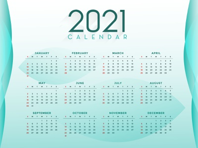 2021 Calendar Vector calendar 2021 new years abstract design flat design vector calendar design 2021 calendar