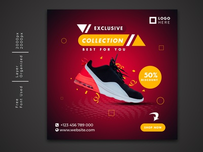 Exclusive Shoe social media post Template promotion product online offer new sale multiple colors marketing home eps e-commerce discount design collection clean campaign business branding banner advertising ads