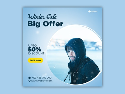 Winter Sale Social Media Post Template multipurpose metro design marketing google gif banner gif flat design flat discounts discount deals deal coupon business banners banner set banner pack animated banner animated adroll