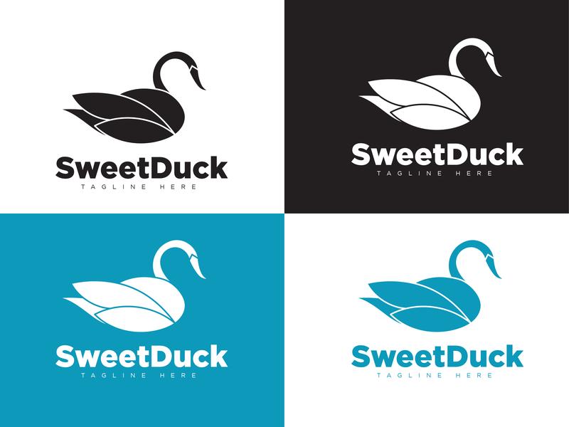 Duck Logo blue black professional logo illustration vector logo icon branding logo design flat