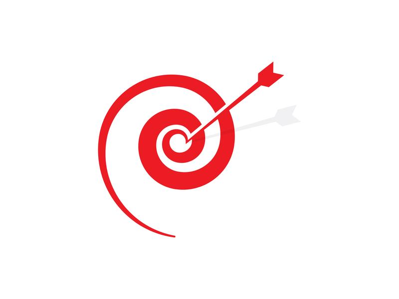 Dartspiral app red professional logo illustration vector icon branding logo logo design flat