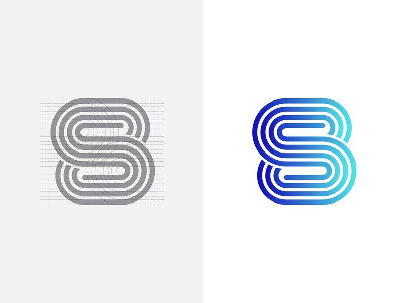 S/8 Logo Concept web typography blue professional logo design grid logo icon vector logo branding logo design flat 8 logo s logo