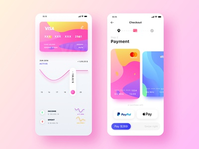 Female theme colorful payment app  | daily UI exercise