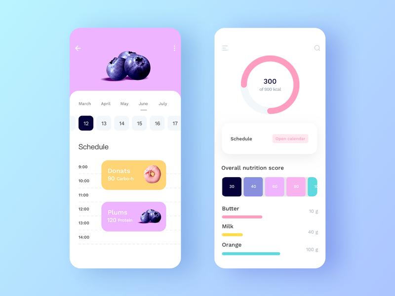 Diet planning app | daily UI exercise 应用 ux 设计 ui