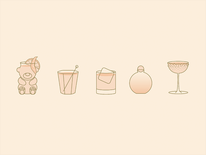 happy hour icons illustration icon menu bar happy hour gin whiskey spirits cocktail drink