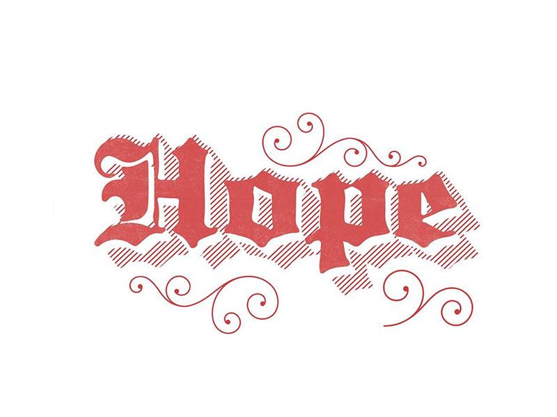 hope 🙏 red christmas type design black letter lettering holiday hope