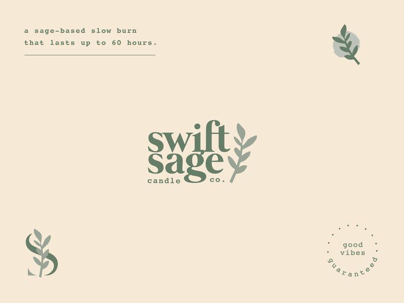 swift sage candle co. organic natural matisse cannabis burn candle sage identity logo