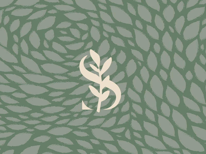 swift sage candle co. natural pattern brandmark monogram leaf logo identity organic herb herbal sage leaf leaves plant s