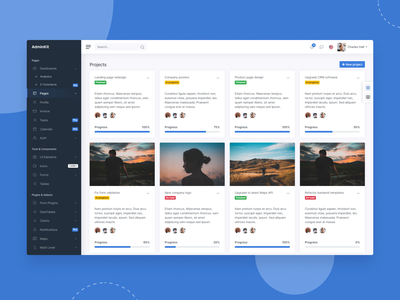Projects Overview - AdminKit projects theme web ui kit ui kit template dashboard bootstrap admin