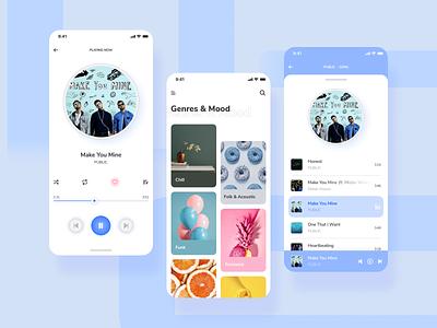 Music Player - Mobile App genres genre blue and white white colour colorful blue clear clean playlist musician music player music art music app music ux design ui design uiux ux ui