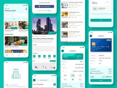 Hotel Booking - Mobile App user ios clean login booking room rounded green maps receipt payment hotel booking hotel app hotel uiux uxdesign uidesign ui  ux ux ui