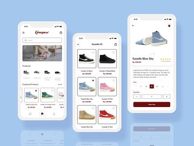 Compass Sneaker Shop - Mobile App online store online shop receipt clean mobile app mobile ikon payment marketplace market blue ecommerce app ecommerce shop sneaker uxdesign ui design uiux ux ui