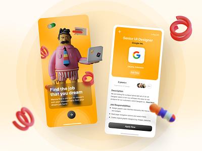 Job Finder - Mobile App inspiration google 3d art 3d ui 3d dreams orange clean search job finder find job jobs job application job ux design ui design ui ux uiux ux ui