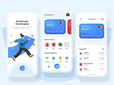 Mobile Banking App top up payment fintech wallet money 3d financial mobile app finance app finance bank app bank invest clean ux design ui design ux uiux ui