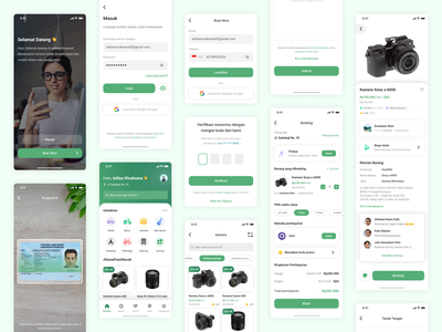 Rental Mobile App pickup login rent id card signature scan green camera rental ios clean inspiration shop mobile marketplace app payment ux design ui design uiux