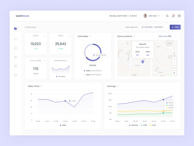 Warehouse - Sales Dashboard data clean overview sidebar card popover hover maps chart ux ui uiux ux design ui design analytics product warehouse finance sales dashboard