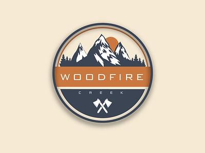 Woodfire creek branding vector design illustration logo