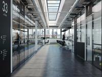 Office Design & Partition walls system use (CGI) concrete partition illustration design interior architecture architecture