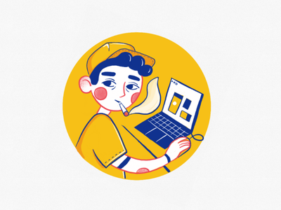 Tired designer club artist digital art coffee designer ux ui design ipad art flat drawing digital illustration illustration