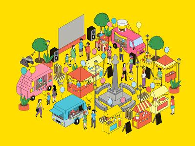 Food festival illustration lineart design vector festival food flat digital illustration digital art drawing illustration
