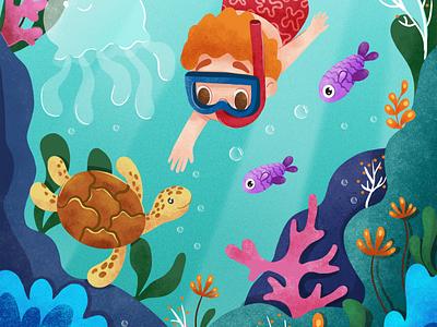 Sea life Childrens book illustration boy kids book flat colorfull sea digital illustration childrens book illustration