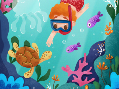 Sea life Childrens book illustration
