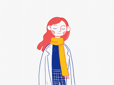 The winter is here. winter girl drawing illustrator art flat self portrait digital illustration illustration