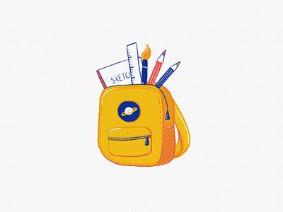 Starter pack ipad digital bag cute flat art digital illustration digital art drawing backpack illustration
