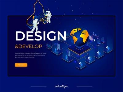 Isometric landing page blue web design isometry adobe xd