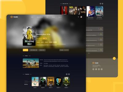 Filimo | Movie Streamer dark dark ui desktop design netflix stream streamer breaking bad onepage filimo movie film adobe xd  photoshop  ui ux adobe xd ux ui design