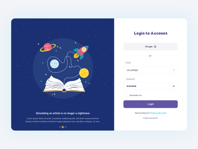Zanco - Login branding webdesign design sign in sign up signup form login adobe xd ux ui