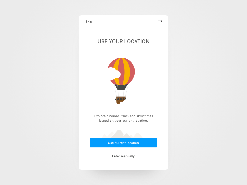 New Onboarding walkthrough android app ios use destination kino cinema current location onboarding