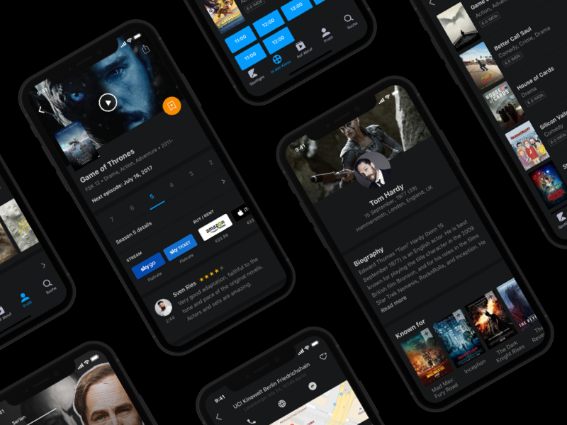 Kino.de app dark mode play watchlist user review showtimes list movie ios ui cinema