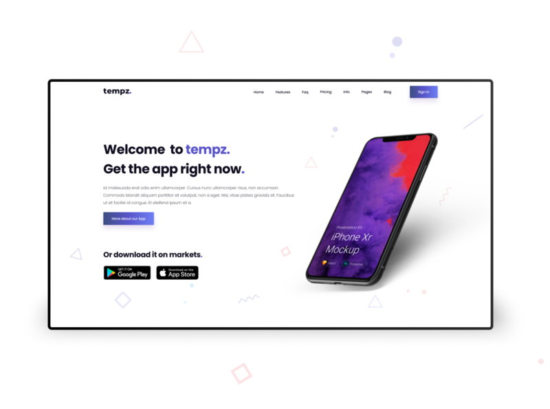 Mobilen. - Mobile apps landing page header element tempz. themeforest elementor templates wordpress blog elementor web design ui design element header wordpress landing page mobile app