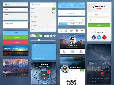 Awesome UI Kit for Mobile mobile ui kit awesome ui kit mobile ui kit free freebie mobile psd