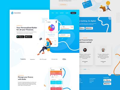 Financial Butler Web Design 2019websitetrend 2019uidesign 2019trends website concept designtrend webdesigner modernwebsitedesign colorfuldesign clean design uxuidesign uxuidesigner fintechappdesign freelance designer